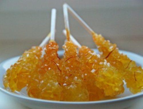 Saffroned Sugar Candy on sticks